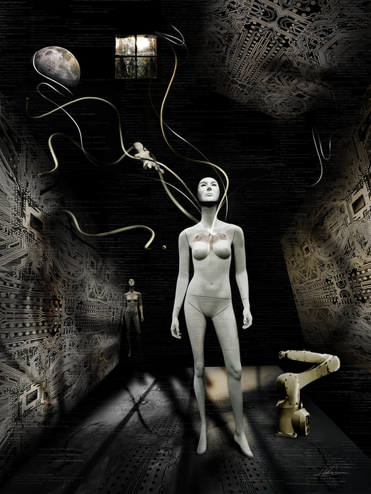 Female artificial intelligence with a white body and flowing wires in a room with shadows and graphic walls contemplating.