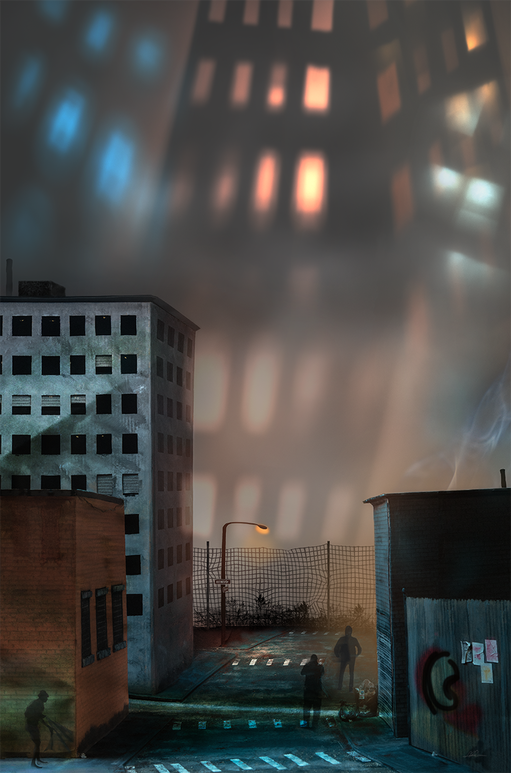 A miniature city scene with buildings, fences and homeless in a ghetto. Large city building lights loom in the background.