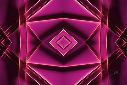 An abstract image of sticks forming a gem-like geometric pattern with shadows. The image is hot pink on a textured surface.