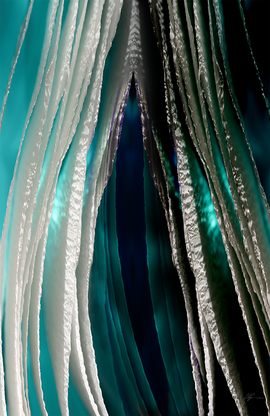 An abstract scene of blues and teals. Jellyfish-like tentacles fill the image. The right side is darker and dying off.
