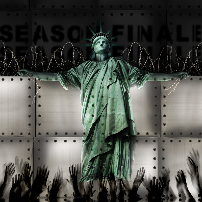 The statue of liberty is tethered to a multi-paneled metal wall with razor wire. Shadowy hands reach for her from below.